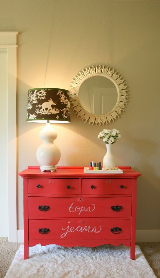 I love the idea of chalkboard paint on furniture.  Especially cheap furniture that I hope to score on craigslist.  :)