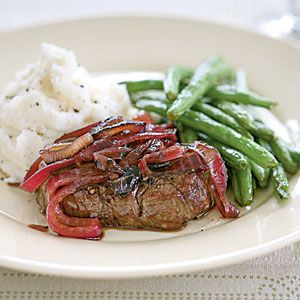 Tenderloin Steaks with Red Onion Marmalade, CookingLight.com: clean eating