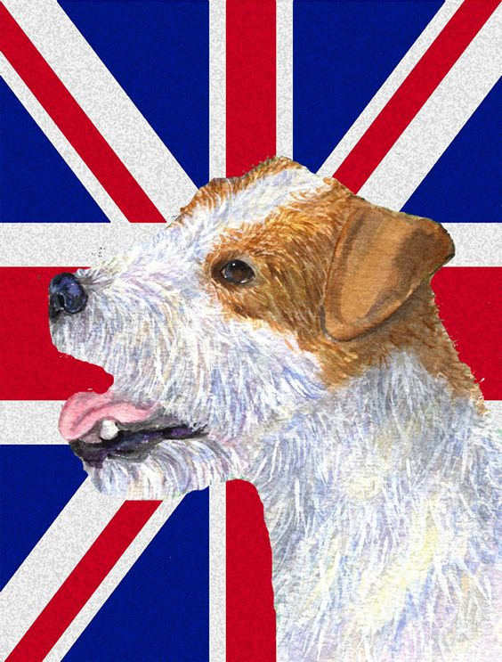 Jack Russell Terrier with English Union Jack British Flag Flag Garden Size SS4946GF
