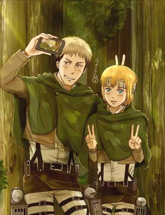 Silly Jean and Armin... Everybody knows that you don't take selfies when there are aberrants everywhere.