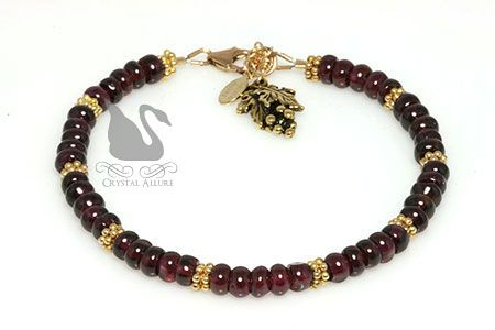 Shiraz Wine Rhodolite Garnet Gemstone Beaded Bracelet (B124) by Crystal Allure