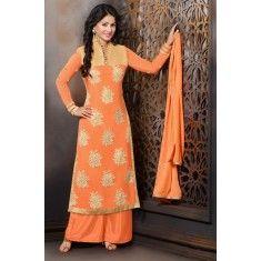 Designer Embroidered Orange Georgette Straight Cut Salwaar Suit-MR705HR( ARTI -530) Karishma