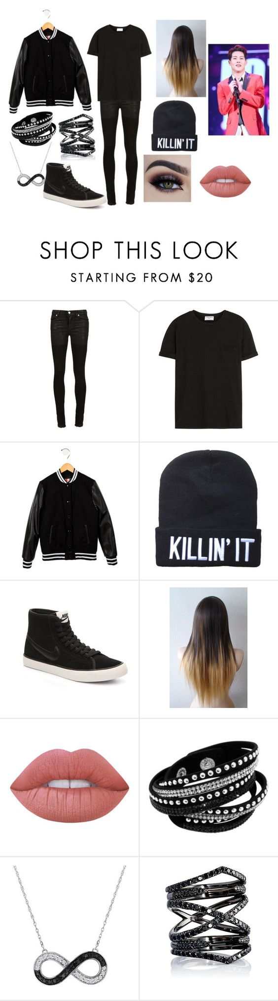 """""""Jooheon Inspired Outifit"""" by zaynahnadeem on Polyvore featuring Alyx, Frame Denim, MSGM, NIKE, Lime Crime and Eva Fehren"""