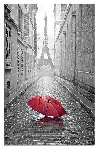 Maison Artwork Romantique Paris Tour Eiffel Rouge Parapluies Impressions Sur Toile Paysage De Rue Impress Papier Peint De Paris Paysage De Rue Fond Ecran Paris