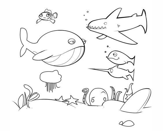 Worksheet. Dibujos de animales marinos para colorear Fondo marino para