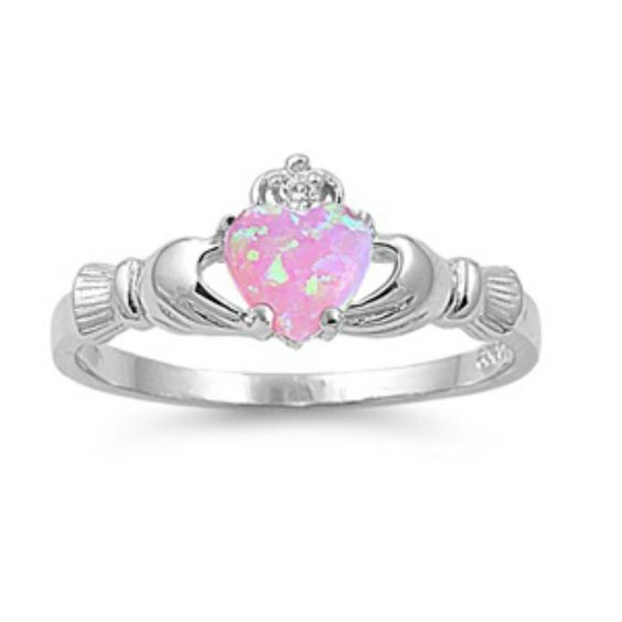 Sterling Silver Pink Opal Claddagh Ring Size 4 5 6 7 8 9 10 11 12