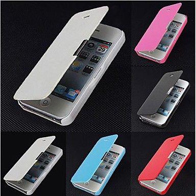 Côr Sólida - iPhone 4/4S/iPhone 4 - Cases Totais ( Preto/Branco/Azul/Rosa , Pele PU ) – BRL R$ 7,80