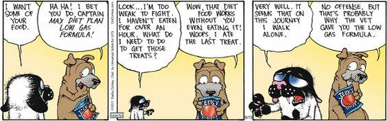 Get Fuzzy on Gocomics.com:  Bucky plays the sympathy card...Satchel gives a passive-aggressive response.  (Well, he's always polite!(Ha, ha on Bucky!)