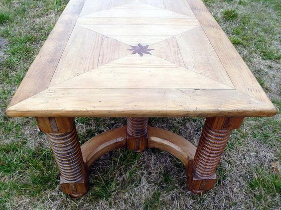Norwegian Dining table in Northern Pine.   Rare design, Hand made , hand planed to a mild distressing. Stunning , bold & heavy.90'' x 40''    For sale for $2500.00