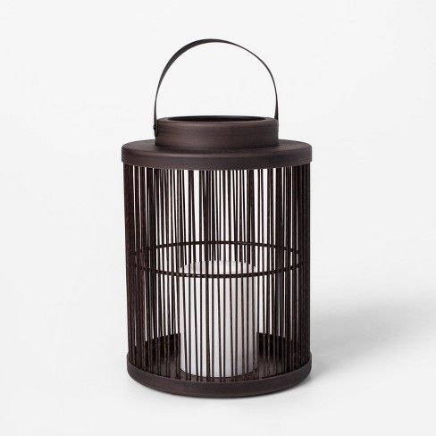 Vertical Weave Led Battery Operated Outdoor Lantern Threshold Outdoor Lanterns Outdoor Lantern Lighting Coastal Porch Decor