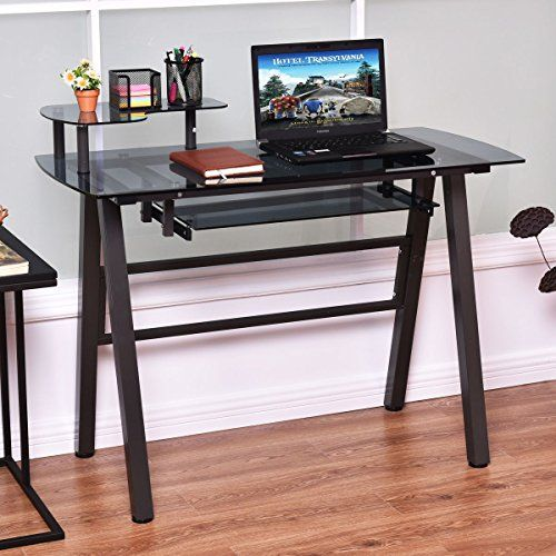 Black Modern Glass Top Computer Desk With Printer Shelf Perfect Contemporary Home Office Or College S Printer Shelf Glass Computer Desks Modern Computer Desk