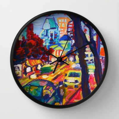 Rushing From Downtown  Wall Clock by Morgan Ralston - $30.00