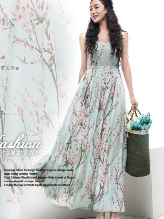 Floral A-line Maxi Dress Blue Green Pink Print Full Pleated Skirt ...