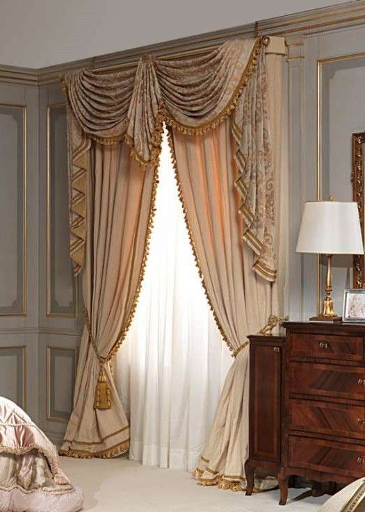 swags tails curtain treatment with trim custom made window treatment
