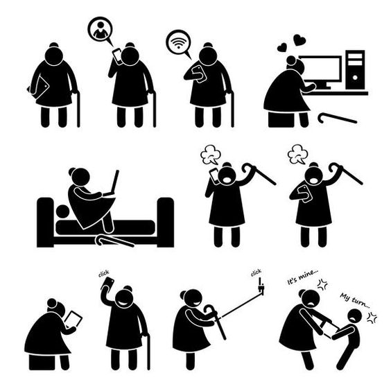 Online Internet High Tech Granny Grandmother Senior Citizen Etsy Pictogram Stick Figures Clip Art