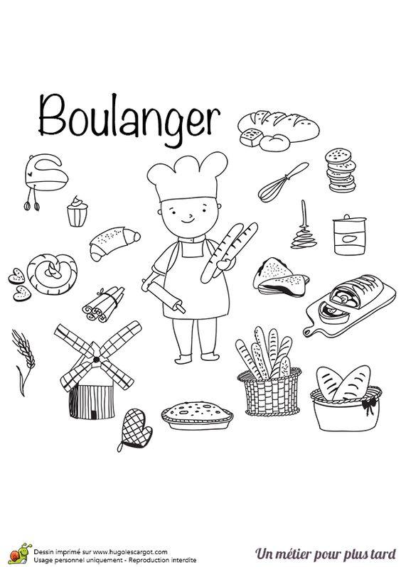 Le boulanger p tissier avec ses ingr dients et ses - Coloriage boulangerie ...