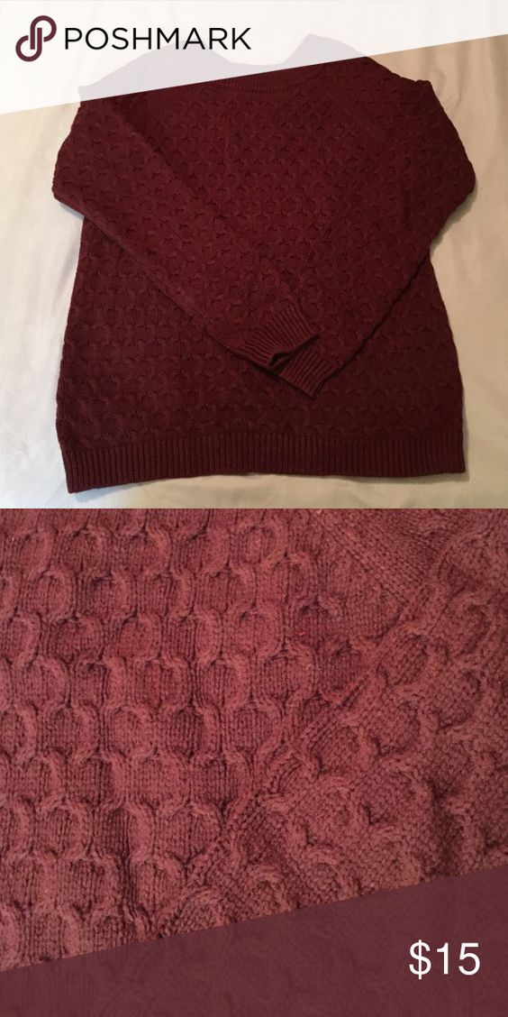 Cable knit sweater Never worn! Perfect for layering! I love the color, a dark maroon great for Fall and the Holidays! Old Navy Sweaters Crew & Scoop Necks
