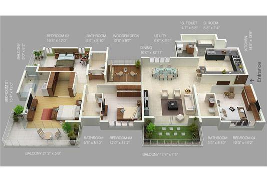 Plan floorplan plano 3d plans floorplans drawing house - Planos de casa en 3d ...