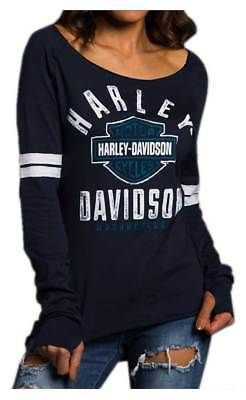 Harley Davidson Women S Power Curve Long Sleeve Raglan Shirt Blue 5q31 Hc2q Harley Davidson Women Harley Apparel Raglan Shirts