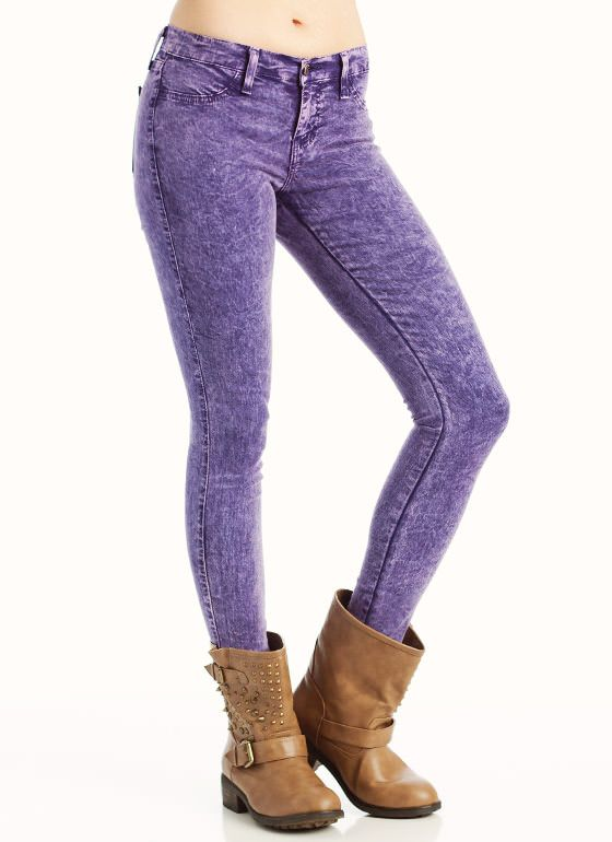 COLORED ACID WASH SKINNY JEANS | My Style | Pinterest | Skinny Jeans Purple Jeans And Cherries