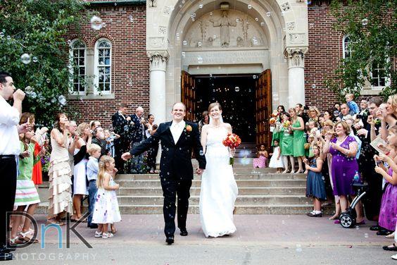 Bride and Groom leave Nazareth Chapel