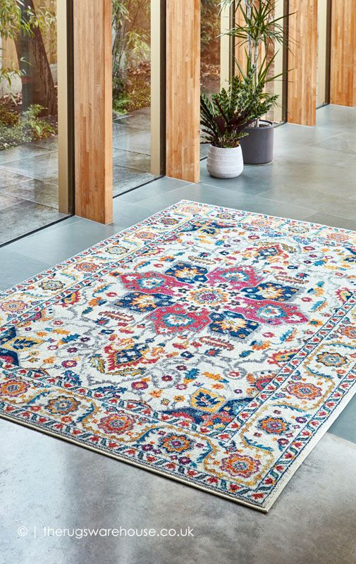 Persian White Multi Rug In 2020 Rugs Synthetic Rugs Persian Rug