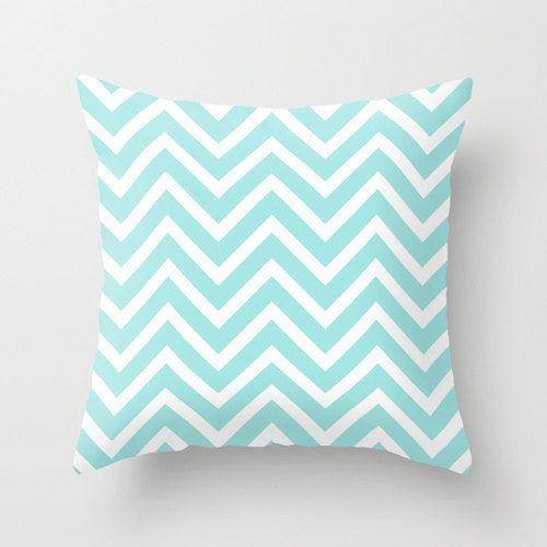 Velveteen Aqua Chevron Pillow - Aqua Throw Pillow - Housewares - Home Decor - Housewarming Gift ...