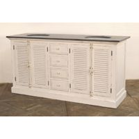 reclaimed pine laquer white finish bluestone top 36x23x71 ONE IN STOCK MSRP $3400. Contractor Price $1399