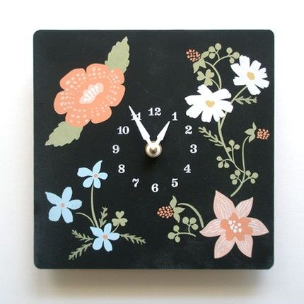 Wood Panel Wildflower Clock: from Decoy Labs- Etsy