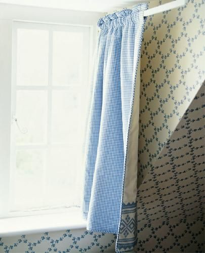 Hinged rod curtain clever for small spaces sew in love - Curtains for small spaces ...