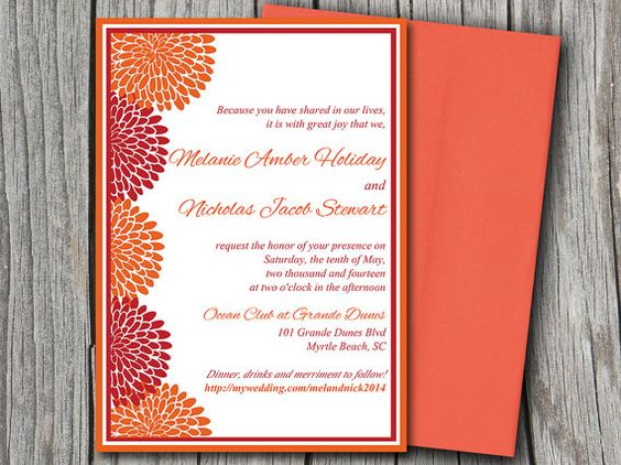 Chrysanthemum Border Wedding Invitation Microsoft Word Template ...