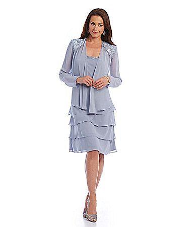 S.L. Fashions Lace-Shoulder Chiffon Jacket Dress | Dillards Lace