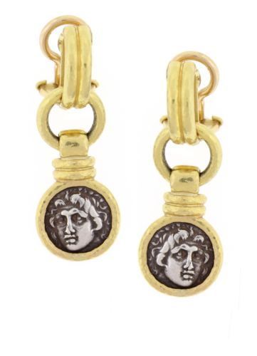 $4650  Elizabeth-Locke-Antique-Silver-Coin-Gold-Drop-Earrings