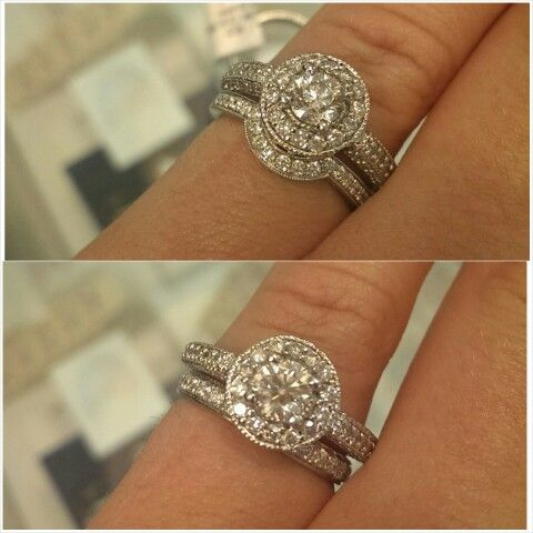 Cute My Halo Engagement Ring With Curved Wedding Band Vs Straight