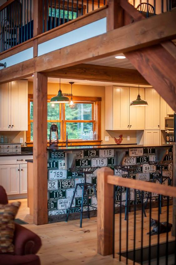 Unusual idea for old license plates in our small barn home, Boulder Meadows. Click thru for more. #barnhomes #barnhouseplans