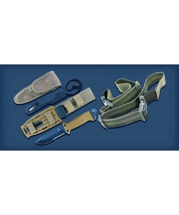 Gerber LMF II Survival Knife The sheath has a sharpener & it's MOLLE compatible to attach to a tactical vest or a backpack.