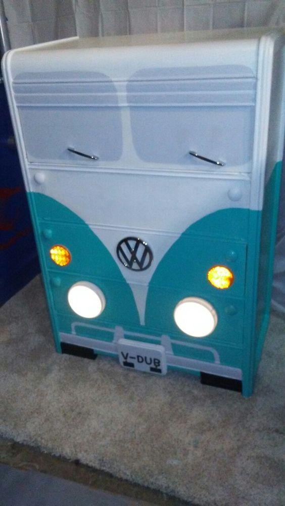 dresser painted to look like a blue VW van