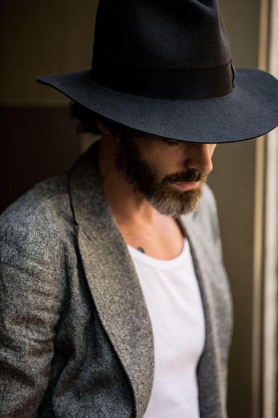 Street looks à la Fashion Week homme printemps-été 2016 de Milan, chapeau, barbe