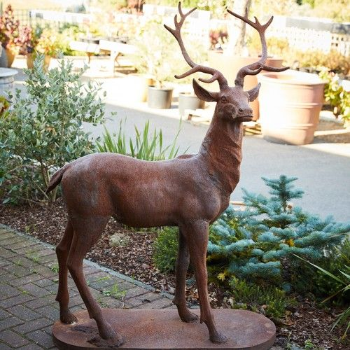Cast Iron Majestic Stag Garden Statue Rust Finish Animal Sculptures Stag Animal Reindeer Decorations