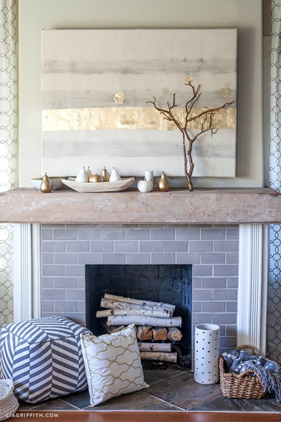 Styling my #DIY rustic wood mantel for Fall with #DIY painted canvas and accessories from #Targetstyle @LiaGriffith.com: