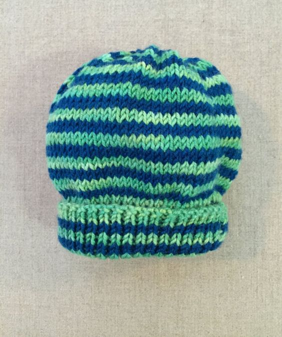 Blue & Green Striped Baby Hat 3Mo Newborn Slouchy hand by MACChang