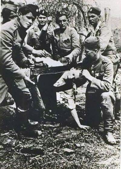 Ustaše soldiers, Jasenovac Concentration Camp, 1942.