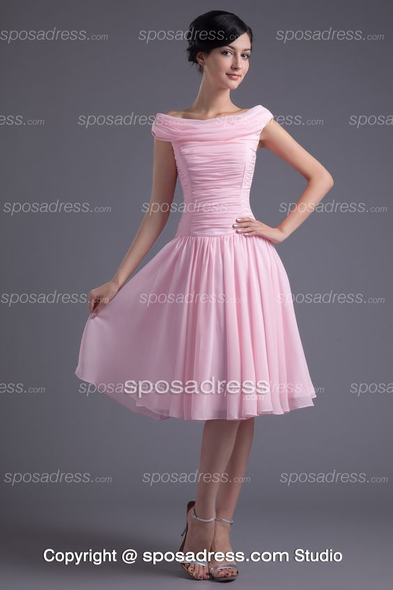 Romantic Pink Chiffon A-line Cocktail Dress With Off-the-shoulder ...