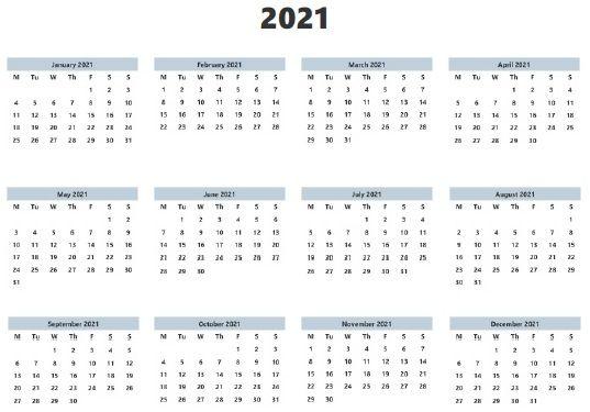 Blank 2021 Calendar Printable Template Editable Calendar 2021 Calendar Calendar Printables