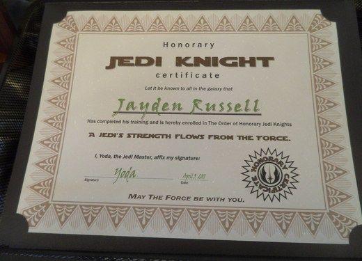 Star wars jedi training academy birthday party ideas star wars party birthdays and birthday for Jedi knight certificate