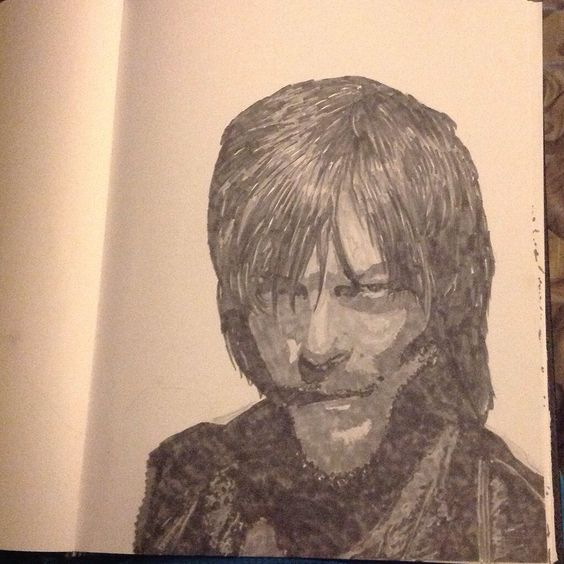 Norman Reedus/Daryl Dixon from The Walking Dead. Copic sketching grays markers. By: April Clemmons