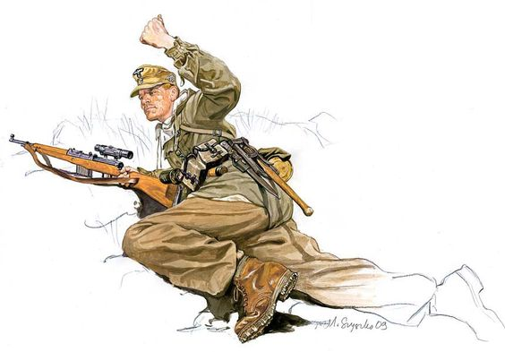 1943-1945 Cazador alemán con un fusil semiautomático Gewehr 43