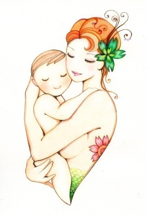 Mère et bébé art imprimé 5 x 7 l'Ondine mère et enfant par joojoo