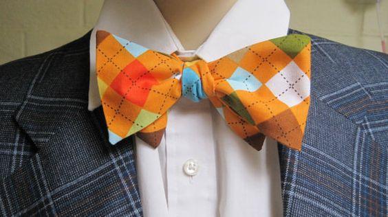 Orange Argyle Bow Tie via Etsy