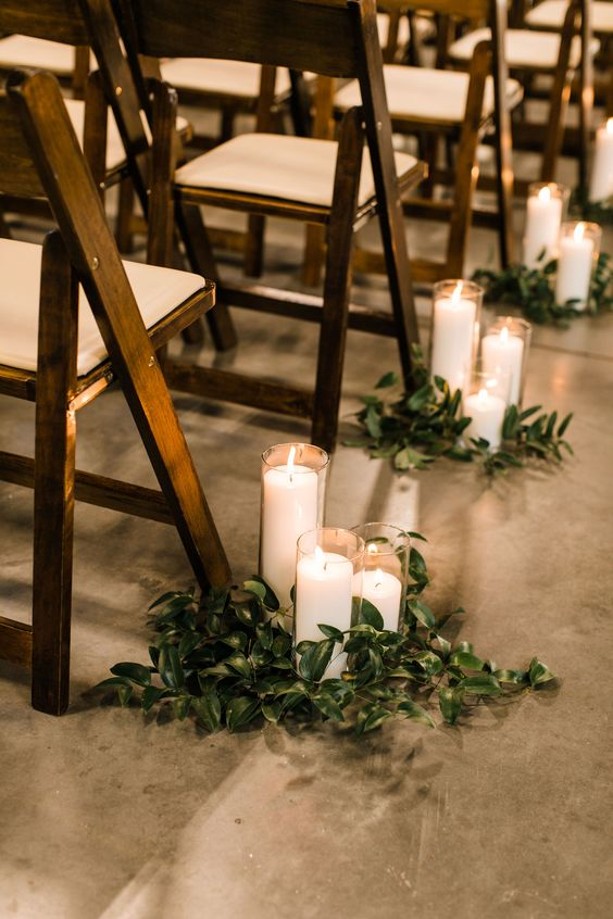 Rustic Wedding Ceremony Isle Candles and Decor - Molly and Marc's Warehouse Wedding at Brick South - Pinch Me Planning - Maine and New England Wedding Planner